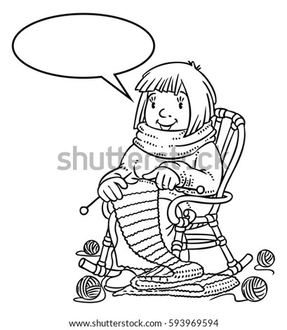 Coloring Book Funny Smiling Knitter Woman Stock Vector