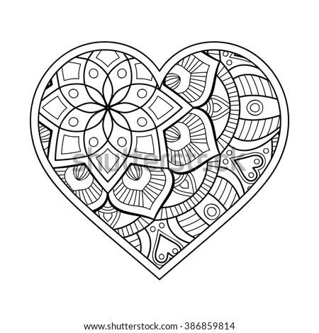 Heart Floral Mandala Vintage Decorative Elements Stock