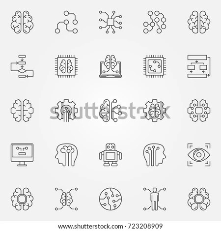 Artificial Intelligence Colorful Icons Vector Ai Stock