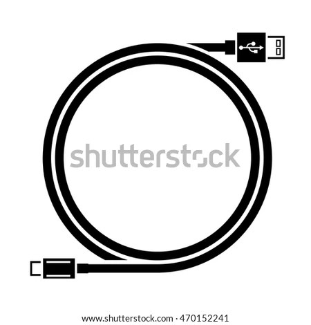 Usb Cable Length Iconmicro Stock Vector 470152226