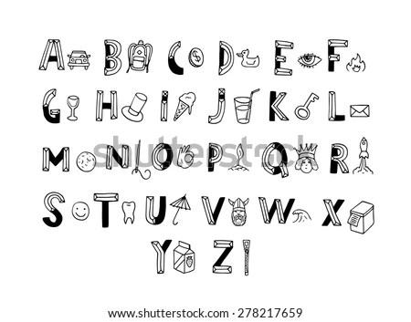 Musical Decorative Notes Alphabet Font Hand Stock Vector