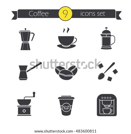 Coffee Icons White Background Stock Vector 170472383