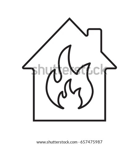 Burning House Linear Icon Fire Safety Stock Vector