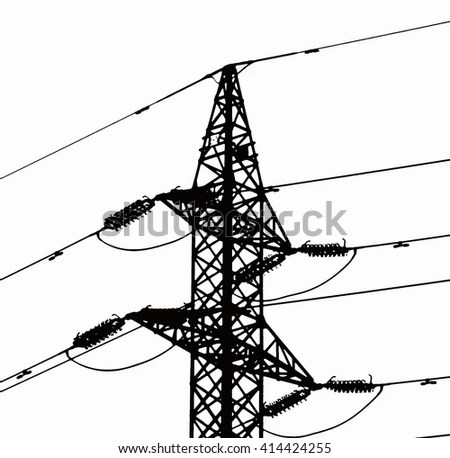 High Voltage Power Lines Electricity Pylon Stock Vector