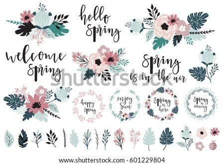Spring Set Hand Drawn Elements Calligraphy Stock Vector