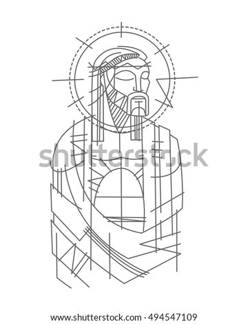 Hand Drawn Vector Illustration Drawing Jesus Stock Vector