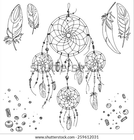 Hand Drawn Dream Catcher Arrows Feathers Stock Vector