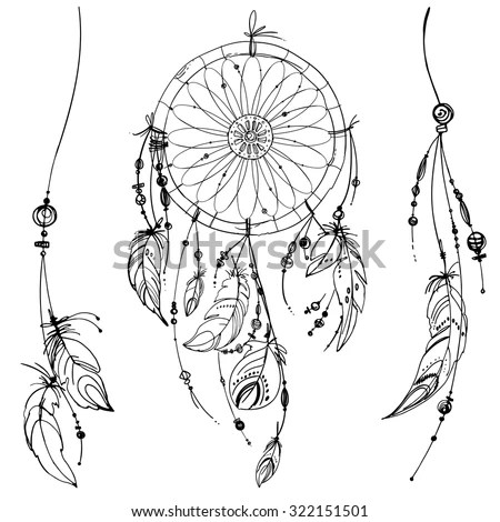 Dream Catchers Vector Set Stock Vector 356218757