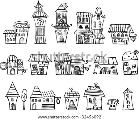 Cartoon Vector Fairy Tale Drawing Houses Stock Vector
