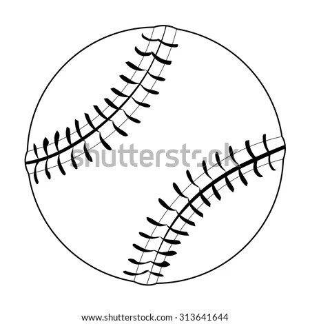 Outline Illustration Baseball Ball Stock Vector 313641644
