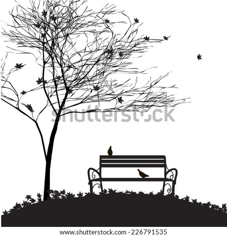 Bench Park Autumn Fall Background Bench Stock Vector
