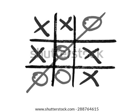 Vector Hand Drawn Noughts Crosses Tictactoe Stock Vector