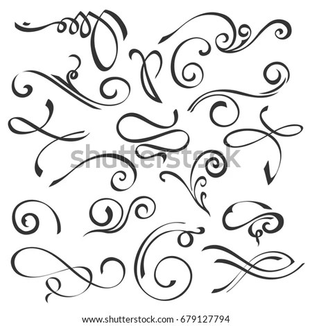 Hand Drawn Swirl Ornate Decoration Elements Stock