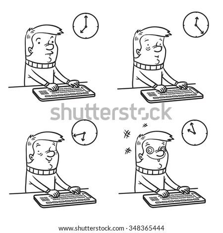 Cartoon Office Man Working On Computer Stock Vector