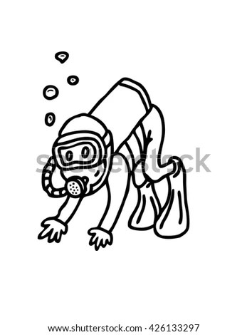 Scuba Diving Cartoon Stock Illustration 426133297