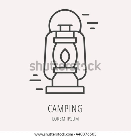 Vintage Camping Lantern Silhouette Isolated On Stock