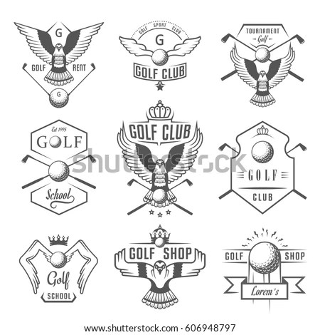 Vector Set Vintage Golf Club Logos Stock Vector 606948797