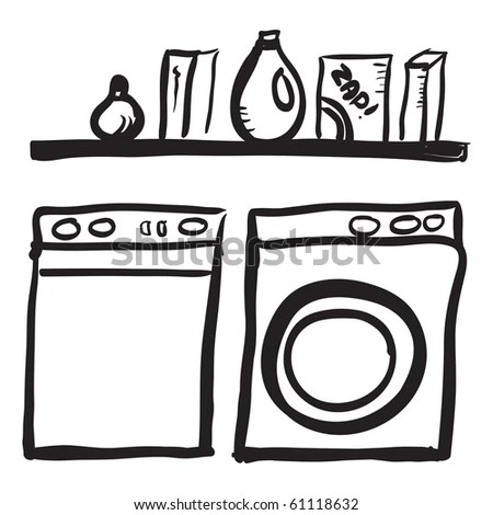 Doodle Washer Dryer Shelf Laundry Detergents Stock Vector