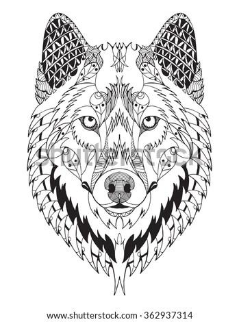 Gray Wolf Head Zentangle Stylized Vector Stock Vector