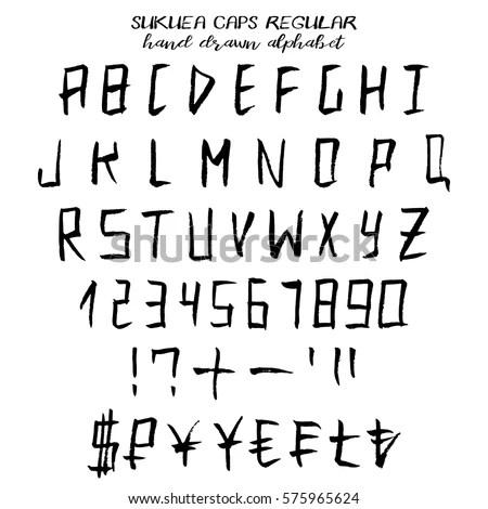 Hand Drawn Alphabet Written Grunge Font Stock Vector