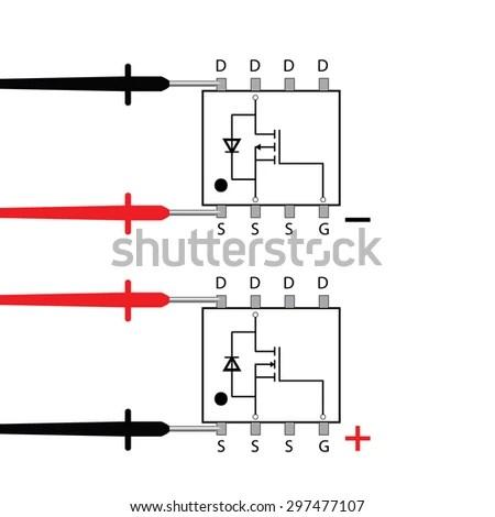 Multimeter Testing Mosfet Scheme Stock Vector 297477107