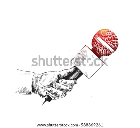 Live News Template Microphone Journalism Concept Stock