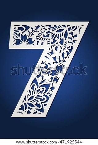 Laser Cut Vector Number Seven May Stock Vector 471925544