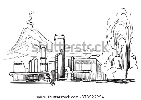 Geothermal Power Station Sketch Imitating Chalk Stock