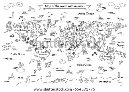 Animals World Map Stock Images, Royalty-Free Images