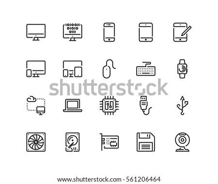 Technology Icon Set Outline Style em vetor stock 561206464