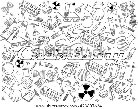 Vector Line Art Doodle Set Cartoon Stock Vector 423607624