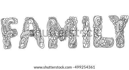 Vector Illustration Family Inscription Coloring Antistress