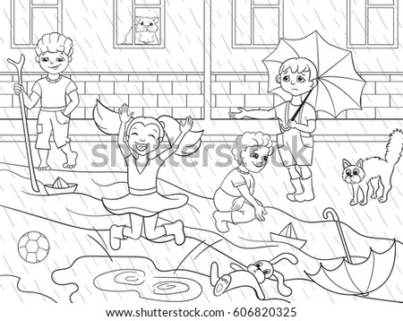 Child Playing In Rain Stock Images, Royalty-Free Images