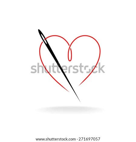Needle Thread Shape Heart Simple Vector Stock Vector