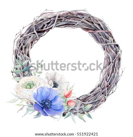Vector Wreath Watercolor Style Stones Pebbles Stock Vector
