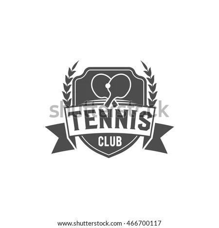 Table Tennis Ping Pong Label Logo Vector de stock466700117