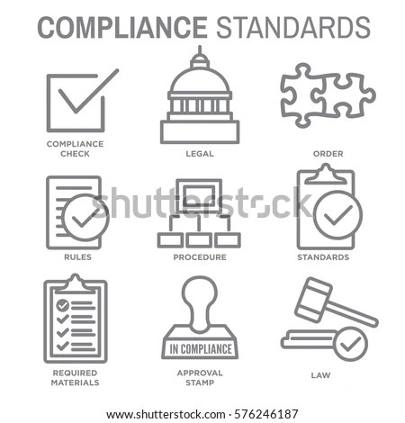 Compliance Icon Set Outline Legal Procedural Stock Vector