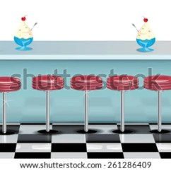 Retro Kitchen Table And Chairs Set Best Inexpensive Faucet Diner Restaurant Bar Check Floor Stock Illustration ...