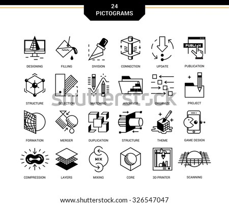 Creative Contemporary Icon Set Linear Style Stock Vector