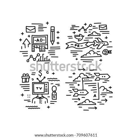 Set Vector Icons Modern Linear Style Stock Vector