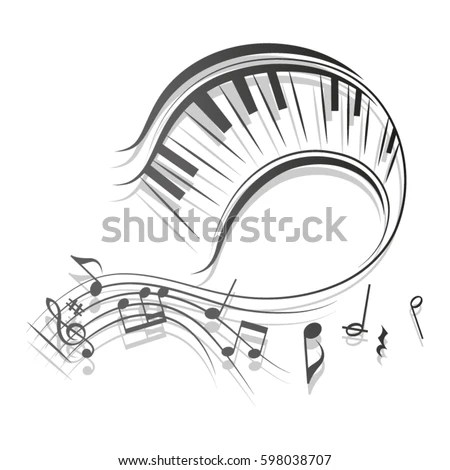 Beautiful Swirl Stave Piano Keys Vector Stock Vector