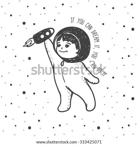 Vector Cute Young Boy Dreaming Spaceman Stock Vector