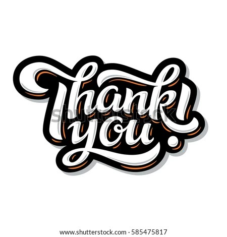 Thank You Lettering Hand Drawn Vector Stock Vector