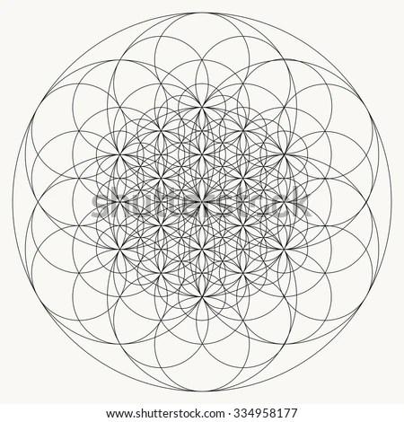 Flower Life Mandala Vector Geometric Art Stock Vector