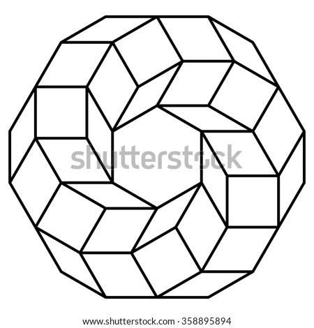 Cube Torus Illustration Hyperspace Sacred Geometry Stock