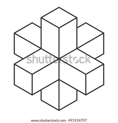 3 D Cross Isometric Drawing Vector Illustration เวกเตอร์