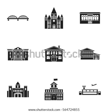 Vector Pattern Old Building Icons Retro Stock Vector