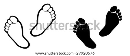 Illustration of feet vector outline ideal for icon or