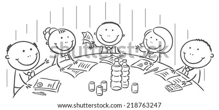Meeting Conference Round Table No Gradients Stock Vector