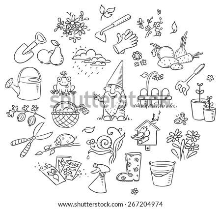 Set Cartoon Gardening Tools Plants Animals Stock Vector